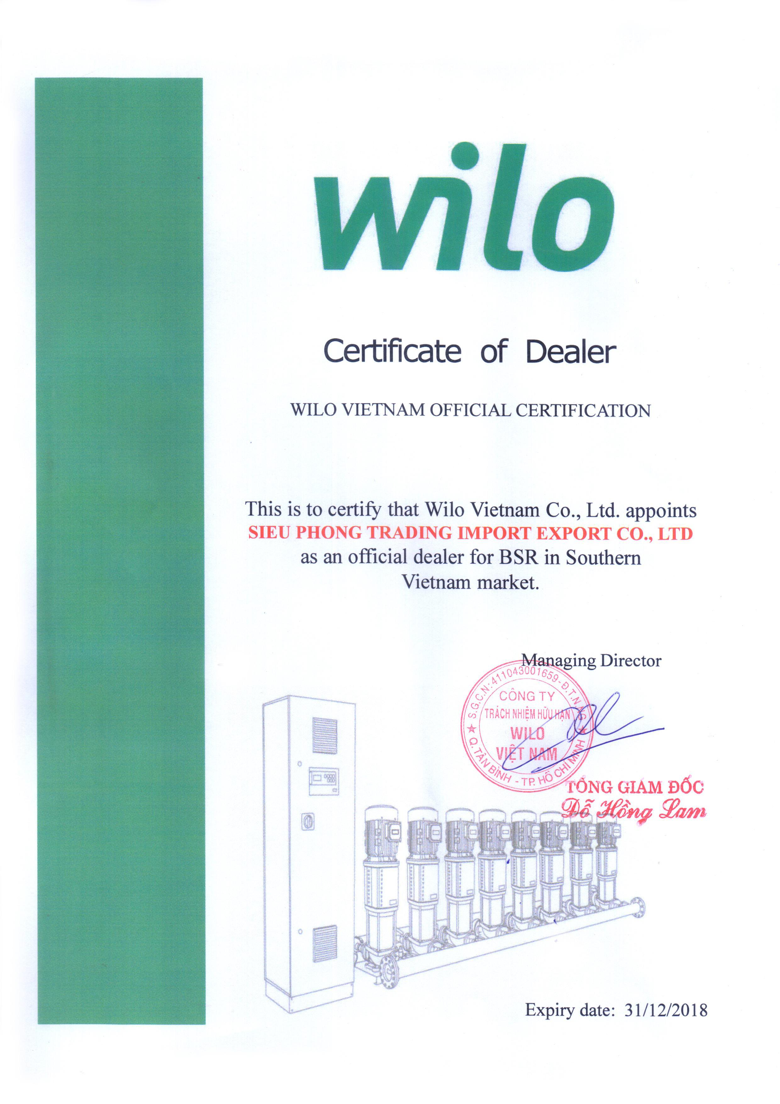 Siêu Phong là nhà phân phối máy bơm Wilo chính thức