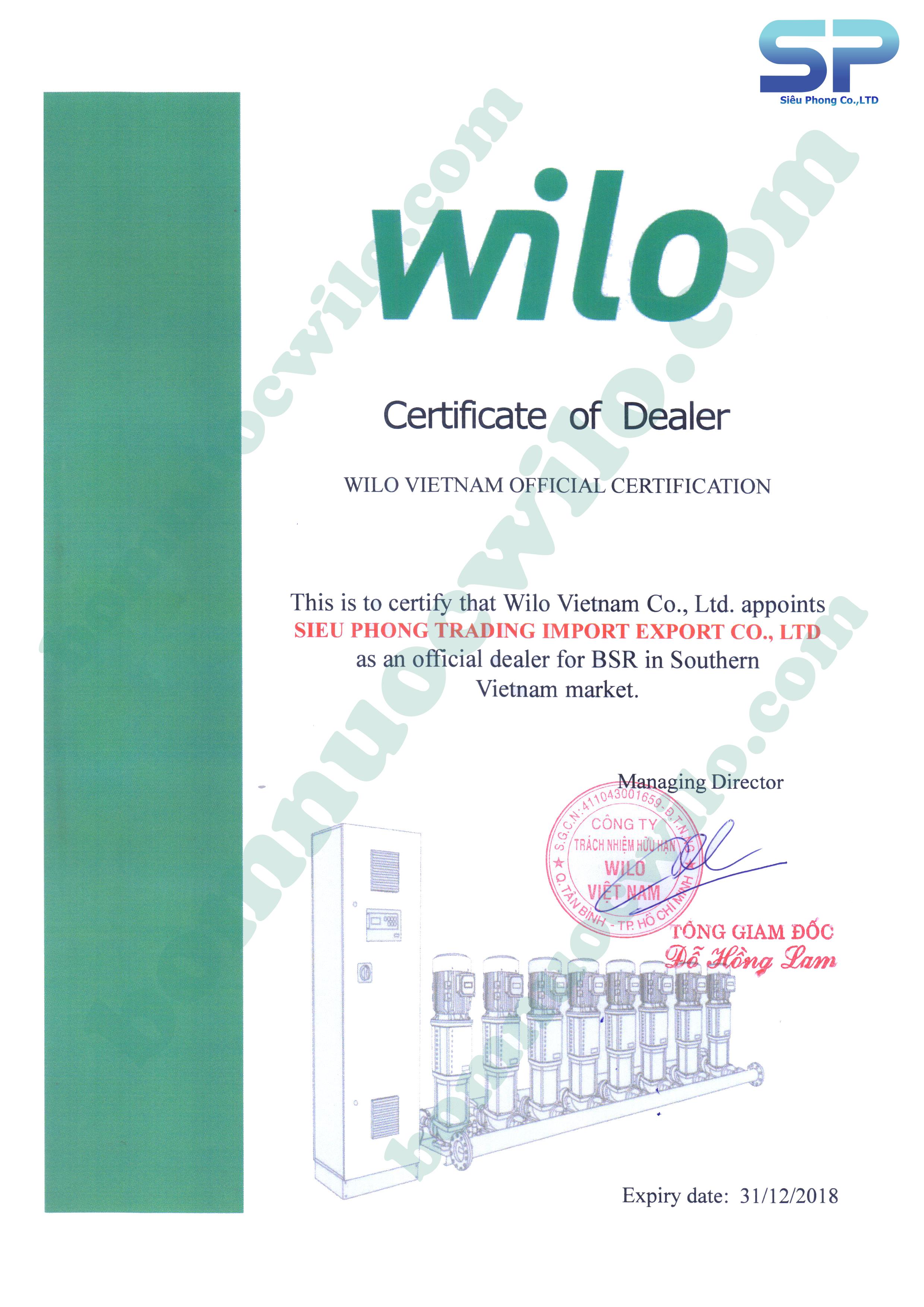 Chứng nhận nhà phân phối ủy quyền WILO 2018