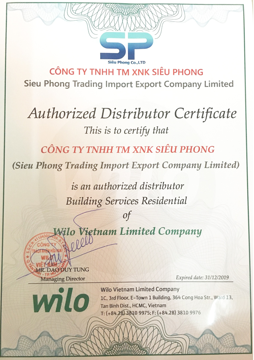 Chứng nhận nhà phân phối ủy quyền WILO 2019